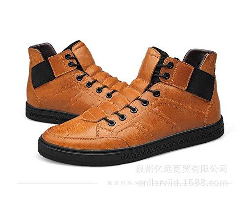 ZQ@QXTop Alto Cuoio Plus cashmere casual all'interno caldo cotone uomini Stivali Stivali, nero, 44 brown