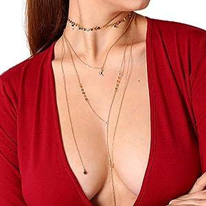 XUHAHAXL Halskette/Schmuck-Persönlichkeiten Übertrieben Multi-Element-Anzug Anhänger, Star Moon Anhänger Sexy Multi-Layer-Halskette