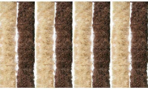 Gruppo Maruccia Tenda in ciniglia Anti Mosche ed Insetti per casa e Camper 100 x 220 Centimetri (Marrone e Beige)