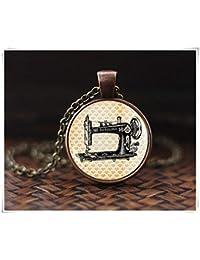 Collar de máquina de coser, colgante de máquina de coser vintage, collar de costuras