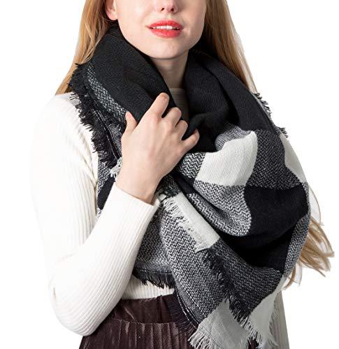 Yidarton Écharpe Chale Femme Cachemire Chaud Automne Hiver Grand Plaid Tissu Glands Foulard (Blanc Noir)