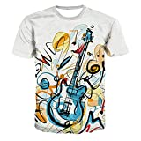 xijia maoyi Men's And Women's 3D Music Guitar T-Shirts Crewneck Cool Short Sleeve Funny Graphic Print Top Casual Tees S