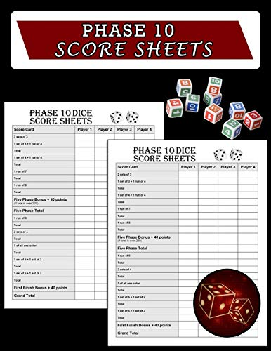 Phase 10 Score Sheets: Phase Ten Dice Game Record Keeper Book, Phase 10 Dice Game