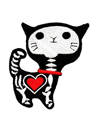 Katze Totenkopf Skelett rot Herz Heart Liebe Love Lächeln Cartoon Fun Kinder Cute Animal Patch für Heimwerker-Applikation Eisen auf Patch T Shirt Patch Sew Iron on gesticktes Badge Schild Kostüm