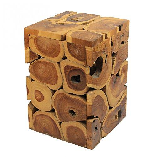 floristikvergleich.de Hocker Massiv Beistelltisch Teakholz Stuhl Wurzel Block Holz Klotz Eckig Natur ca. 35×35 cm