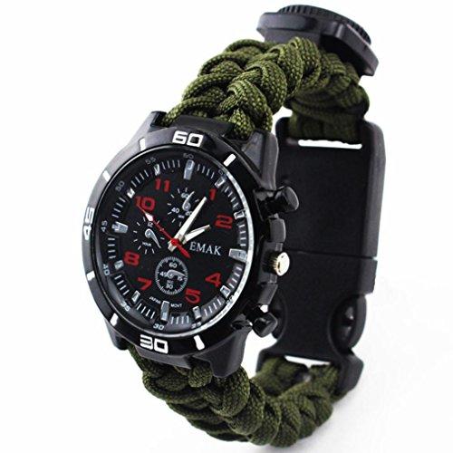 Hunpta Outdoor Survival Uhr Armband Paracord Kompass Feuerstein Feuer Starter Pfeife (Army Green)
