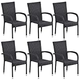 dasmöbelwerk 6er Set Polyrattan Sessel Stuhl stapelbar Rattan Gartenmöbel schwarz Palermo Stapelstuhl
