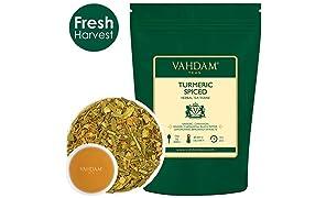 VAHDAM, Tè Chai Speziato Alla Curcuma, 200g (100 tazze), Antica Miscela Di Curcuma Medicina indiana e spezie fresche da giardino, ABBONDANTE IN ANTIOSSIDANTI | infusi e tisane | Herbal tea dall'India