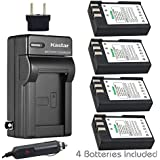 Kastar Battery (4-Pack) And Charger Kit For Nikon En-EL9, EN-EL9a, MH-23 Work With Nikon D3000, D5000, D40, D60, D40X SLR Cameras