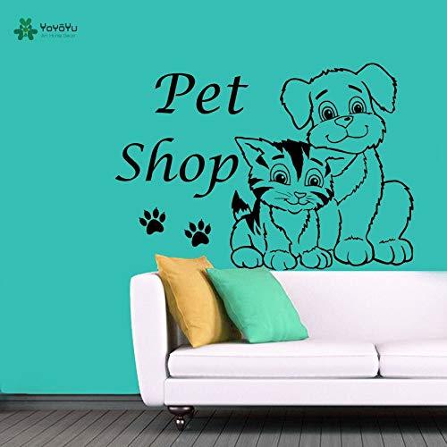 wukongsun Wandtattoos Vinyl wandaufkleber Hund Katze wandtattoo pet Shop schönheitssalon Dekoration kamm Pfote Kunst abnehmbare Poster 75 cm x 109 cm