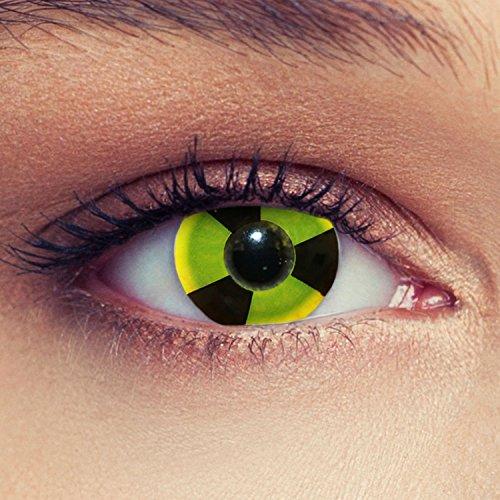 Gelbe farbige Kontaktlinsen atomar Zeichen verstrahlt Model: