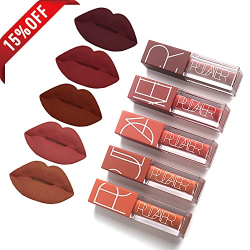 5 Colori/Set Lucidalabbra, Rossetti liquidi mat, lungo impermeabile duratura Matte Lip Gloss liquid lipstick (5 pcs)