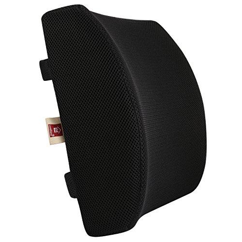 Lovehome cuscino lombare memory supporto lombare per auto sedia ufficio - ortopedico ergonomico tempur disegnato per schiena sedile auto sostegno cuscini lombari con copertura della maglia 3d fermezza equilibrata, allevia dolore di schiena - promuovere sano postura - nero