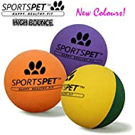 SPORTSPET High Bounce Rubber Dog Balls 3 pack