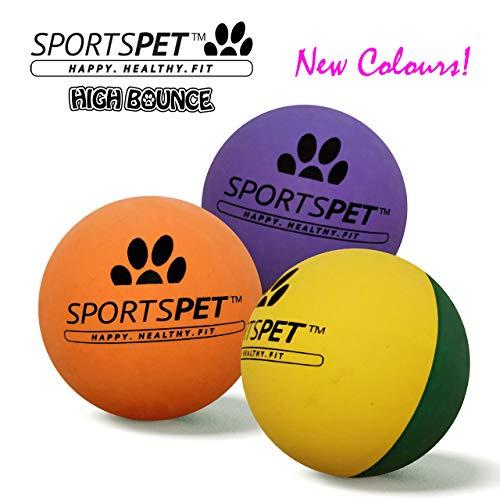 SPORTSPET Langlebige High Bounce Sport Bälle für Hunde 3er Pack