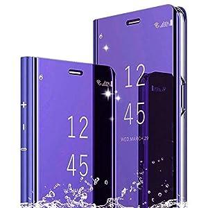 DAYNEW Funda para XiaoMi Mi MAX 3,XiaoMi Mi MAX 3 Funda Desmontable Ultra-Delgado,360 °Protection Inteligente Espejo Brillante tirón del Caso Duro para XiaoMi Mi MAX 3-Púrpura