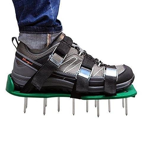 Chaussures ycnk Aérateur de gazon avec boucles en métal et 6sangles–Heavy Duty Pointes Sandales pour aérer votre pelouse ou yard- 5,1cm Long nails- 2pointes supplémentaires