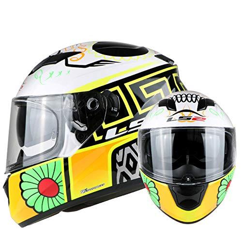 Berrd Casco moto incorporato Visiera parasole Doppia lente Casco integrale Senza airbag Casco moto Dot certificazione Giallo veleno fiore XL