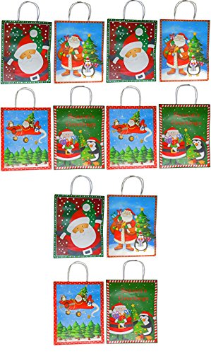REGENT Holiday Christmas Santa & Pinguin Geschenk Tüten 31,8 x 25,4 cm Red, Blue, Green