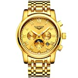 GUANQIN Herren Hohl Automatik Mechanische Uhr 18k Gold Uhr Multifunktions - Edelstahl Edelstahlband , 1