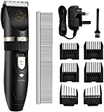 OMorc Dog Grooming Clippers, Low Noise Rechargeable Cordless Pets Dogs and Cats Electric Clippers Grooming Trimming Kit Tool Set for Dogs Cats Horses and Other Animals