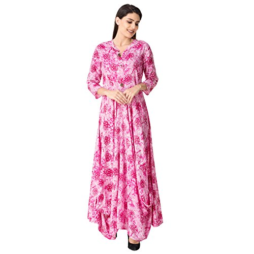 Khushal Women's Rayon Long Length Pink Kurtas (Kk-04-Cowl-Pattern_Xxx-Large)