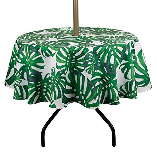Liery Patio-Tischdecke Im Freien Mit Regenschirm-Loch-Reißverschluss-Wasser-Flecken-beständiger Gewebetischdecke Für Regenschirm-Tabelle -