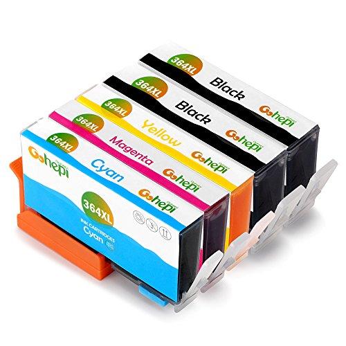 Gohepi 364XL Compatible pour Cartouches HP 364XL 364, 2 Noir/Cyan/Magenta/Jaune Pack de 5 Travailler avec HP Photosmart 5520 6520 5510 7520 5524 7510 6510 5515 5514 5511 5522 B010 B109a B110, HP Photosmart Premium C309 C310 C410 C410b B8550 B8850, HP Officejet 4620 4622 4610, HP Deskjet 3070A 3520 3521 3522 3524