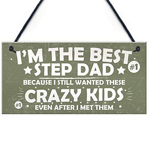 Sary buri best step dad crazy kids - targhetta da appendere per festa del papà o compleanno