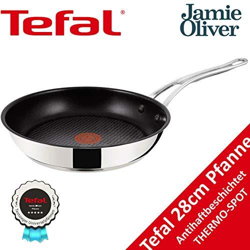 Tefal Jamie Oliver Premium Wave Pfanne H80360 28cm Induktion geeignet Titanium mit Antihaftbeschichtung Edelstahl für alle Herdarten, 28 cm