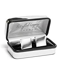 Personalised Square Silver Cufflinks with Luxury Chrome Case - Engraved - Enter Your Custom Text
