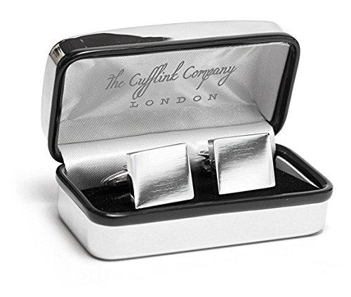 Gemelos plata cuadrados lujosa funda cromada, grabado