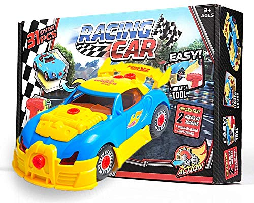Take Apart Toy - Construction Toys For 3 Year Old Boys Above - Build Your Own Racing Car With Electric Drill Tool Screwdriver - Newest Version With Realistic Sounds And Lights