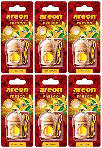 AREON Fresco Deodorante Auto Vaniglia Profumo Dolce Legno Bottiglie da Appendere Specchietto Liquido Pendente Vetro Boccetta Originali Giallo Legami 4ml 3D Casa (Vanilla Set x 6)