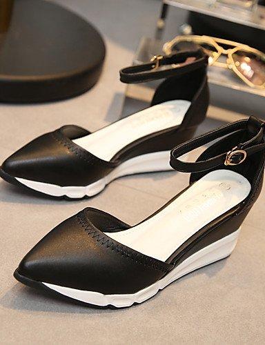 WSS 2016 Chaussures Femme-Habillé-Noir / Argent-Talon Compensé-Talons / Confort / Bout Pointu / Bout Fermé-Talons-Similicuir black-us5.5 / eu36 / uk3.5 / cn35