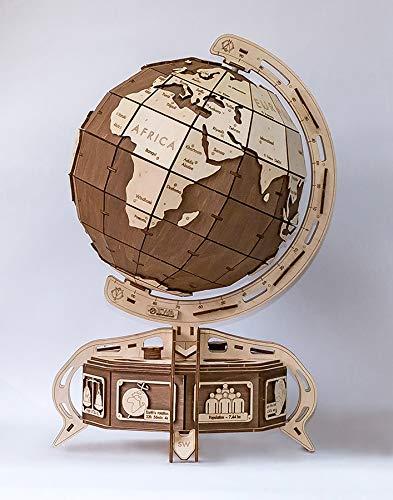 Eco Wood Art DER GLOBUS EWA EcoWoodArt 3D Holzpuzzle für Jugendliche und Erwachsene-Mechanisches Globusmodell Braun-DIY-Bausatz für geografische Bildung, Selbstmontage, kein Klebstoff erforderlich