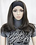 Lydell Long Straight Wigs Wave Headband Synthetic Wigs for White Women (6# Chestnut Brown)