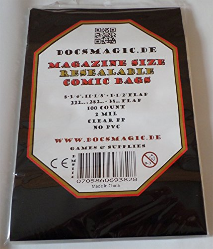 docsmagic.de 100 Resealable Magazine Size Comic Book Bags 8-3/4