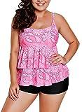 Aleumdr Damen Große Größen 2 Piece Tankini Set Rüschen Bauchweg Oberteil mit Paisley Print U-ausschnitt und Shorts Pink XXX-Large