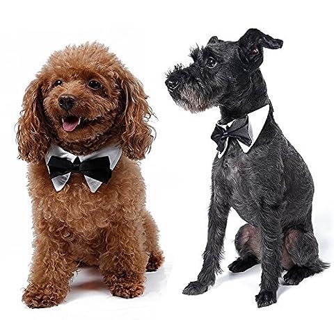 Doggie Style Store White Black Bow Tie Dog Tuxedo Wedding Dicky Bowtie Collar - 10 Sizes