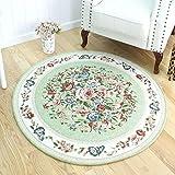 SLH Grüner nordischer runder Teppich-Schlafzimmer-Blumen-Decken-Stuhl-Kissen-Wohnzimmer-Schaukelstuhl-Kissen (Size : L)
