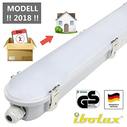 45W LED Feuchtraumleuchte Wannenleuchte 120cm als Garagenleuchte Kellerleuchte Büroleuchte Werkstattleuchte (Led 45w)