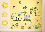 nikima - 060 Wandtattoo Wanddekoration Dschungel Tiere Löwe Elefant Koala Panda Giraffe Zebra - in 6 Größen - Kinderzimmer Sticker Wandaufkleber niedliche Wandsticker Wanddeko Wandbild Junge Mädchen (750 x 420 mm) Test