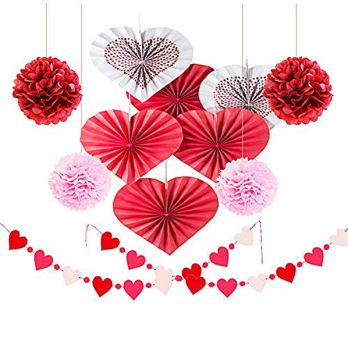 (12 Stück Herzförmige Hängepapier-Fächer-Set (6 Stück Herz-Ventilator + 4 Pompons + 2 String Herz Girlande Wimpelkette Party-Geburtstag Hochzeit Valentinstag Dekoration stil 1)