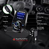 [Upgraded Version] FM Transmitter, VicTsing Bluetooth Car MP3 Player Radio Adapter Hands-free Talking Car Kit with Dual USB Port and 3.5mm Audio Port, 1.44 Inches Screen Supports Display Car Battery Voltage and Phone Number, Support TF Card and U Disk Memory up to 32G - Black
