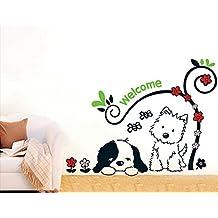 ufengke® Socios Leales Perritos Lindos Pegatinas de Pared, Vivero Habitación de los Niños Removible Etiquetas de la pared / Murales