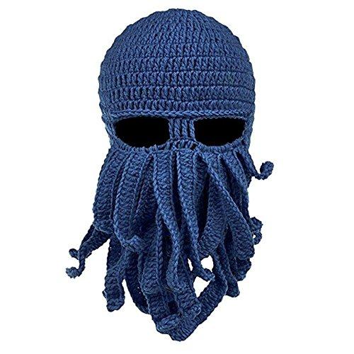 Queenshiny® Kopf Barbar Vagabond Beanie Original Foldaway Bart Hüte Halloween Viking Horns Bärtige Caps (Oktopus dunkelblau) (Für Halloween Bärte)