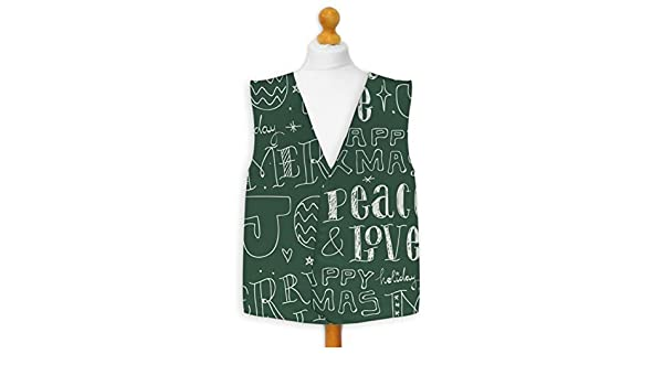 Christmas Novelty Waistcoat Fun Fancy Dress Informal Joy and Peace Red or Green