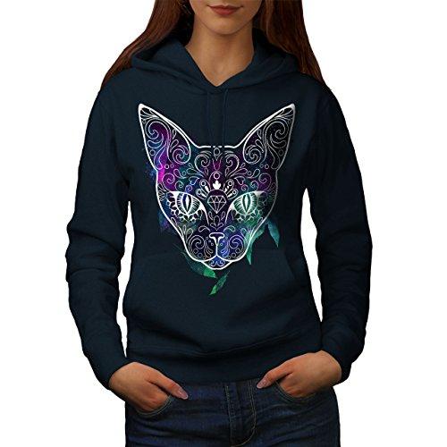 Mystique Cosmos Animal Chat Femme S-2XL Sweat à capuche | Wellcoda Bleu