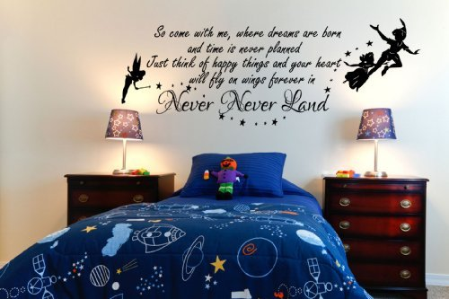 peter-pan-so-come-with-me-tinkerbell-bambini-la-pared-del-vinilo-mural-kids-bedcamera-100x55-black